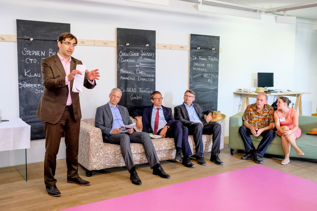 Die Pressekonferenz zum Zukunftskongress mit Oberbürgermeister Klaus Mohrs und Dr. Frank Fabian, Sprecher des Vorstandes der Wolfsburg AG, sowie Stephen Brobst, CTO von Teradata